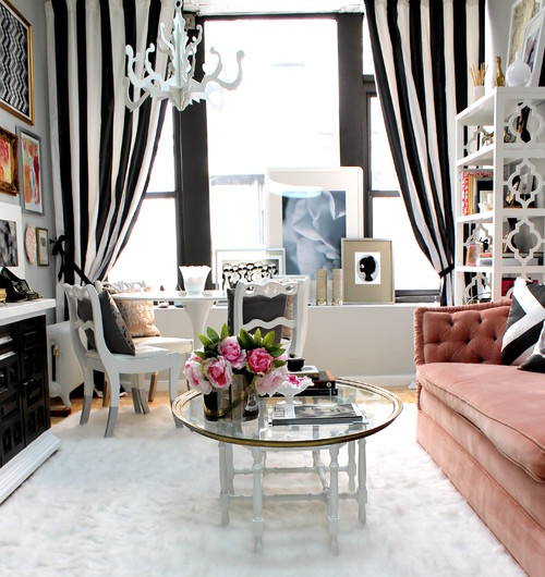 Living Room with Black & White Striped Curtains